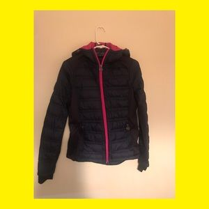 Authentic Navy Blue Thin MK Hooded Puffer Jacket